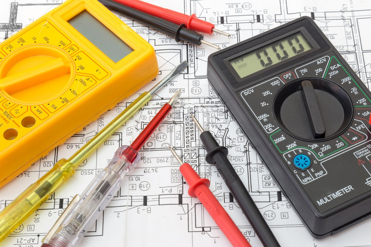 electrical components on top of blueprints