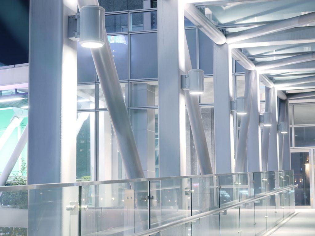 large LED lights lighting a business walkway